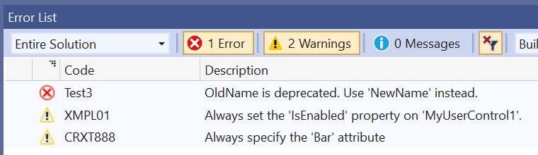 Custom warnings displayed for a custom XAML control