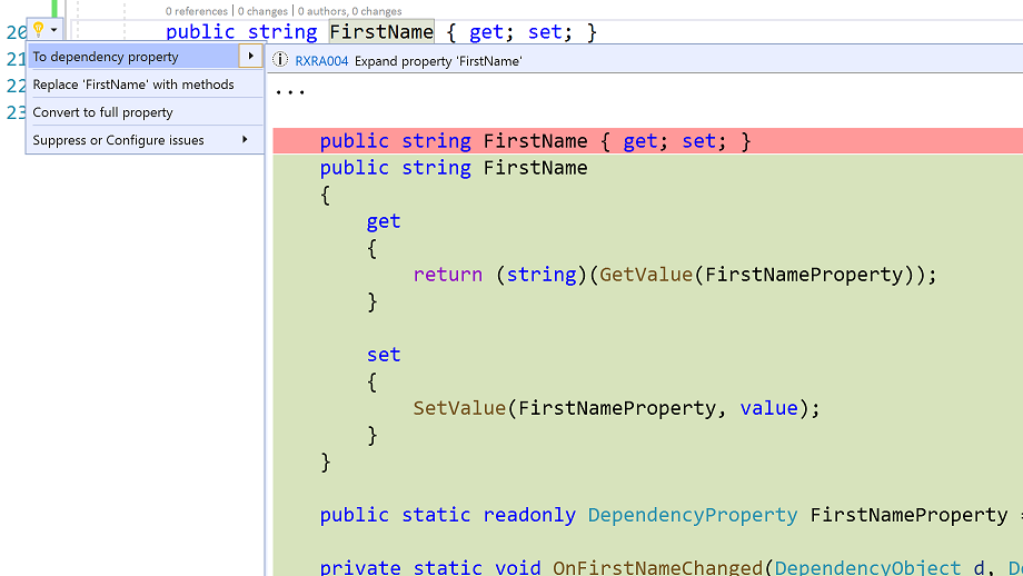 Visual Studio editor showing suggested actions for changing to a dependency property