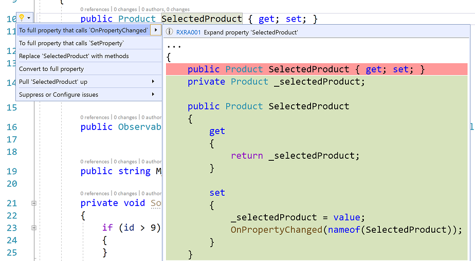 Visual Studio editor showing suggested actions for changing the property definition